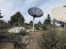 Several dish reflector antennas